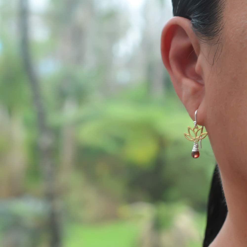 Image of Tiny Lotus Garnet Earrings