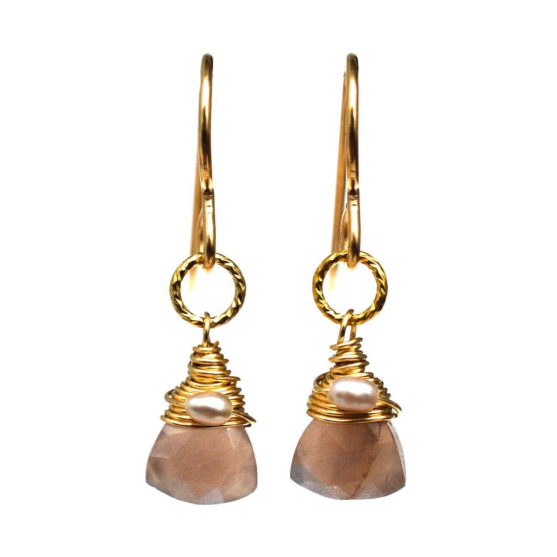 Image of Moku Brown Moonstone Earrings
