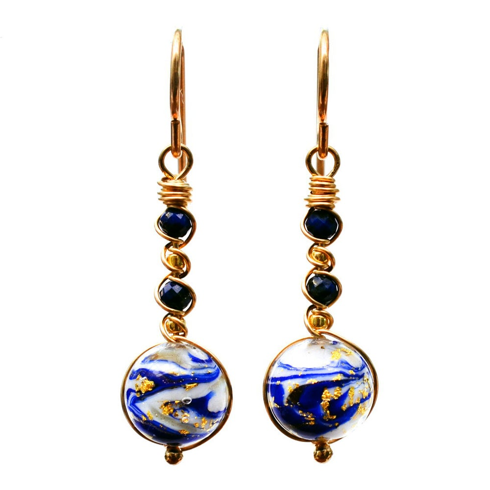Image of Blue swirled glass earrings