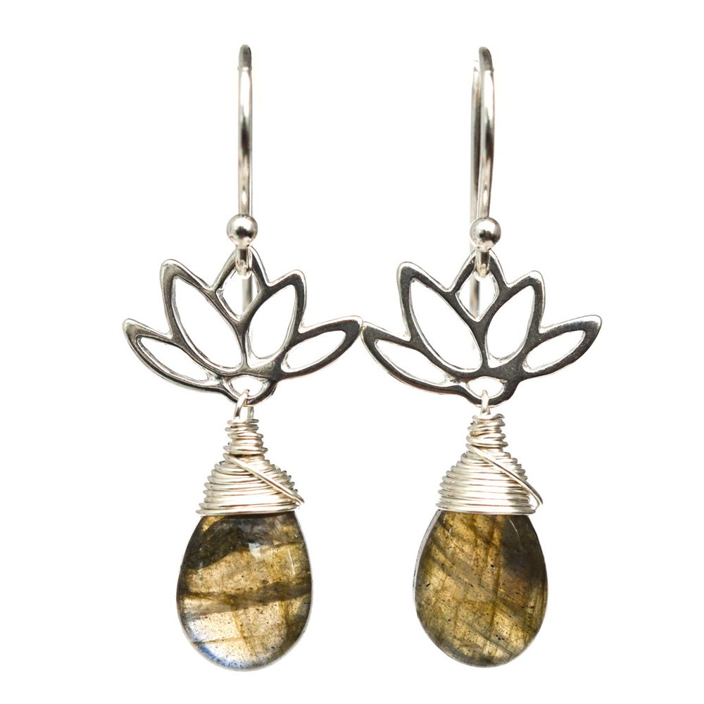 Image of Labradorite Lotus Blossom Earrings