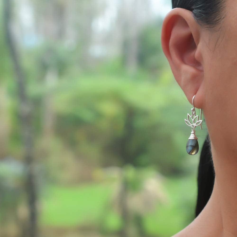 Image of Labradorite Lotus Blossom Earrings