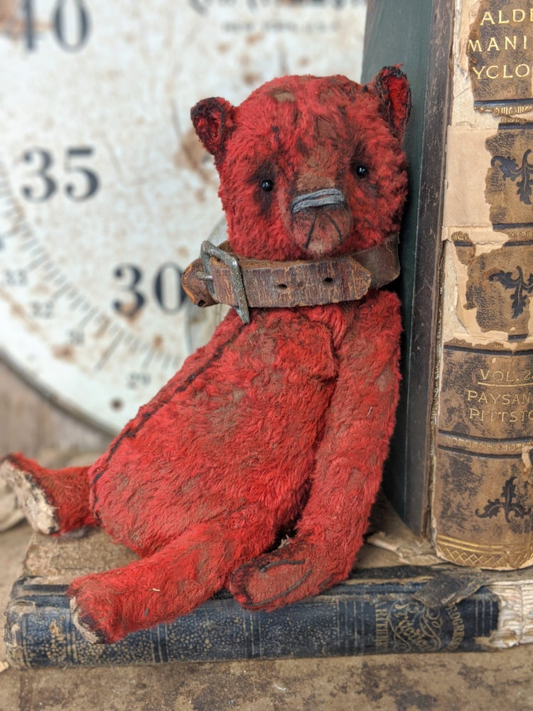"Image of 9"" antique style old worn red teddy bear with leather collar by whendis bears"