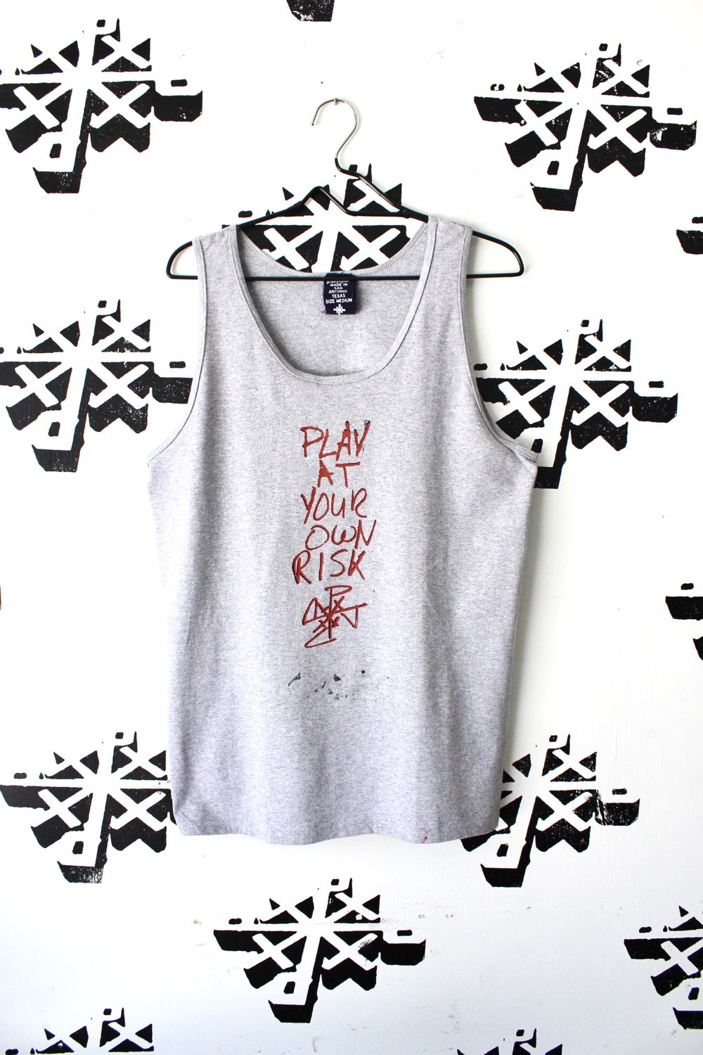 play at your own risk tank in gray
