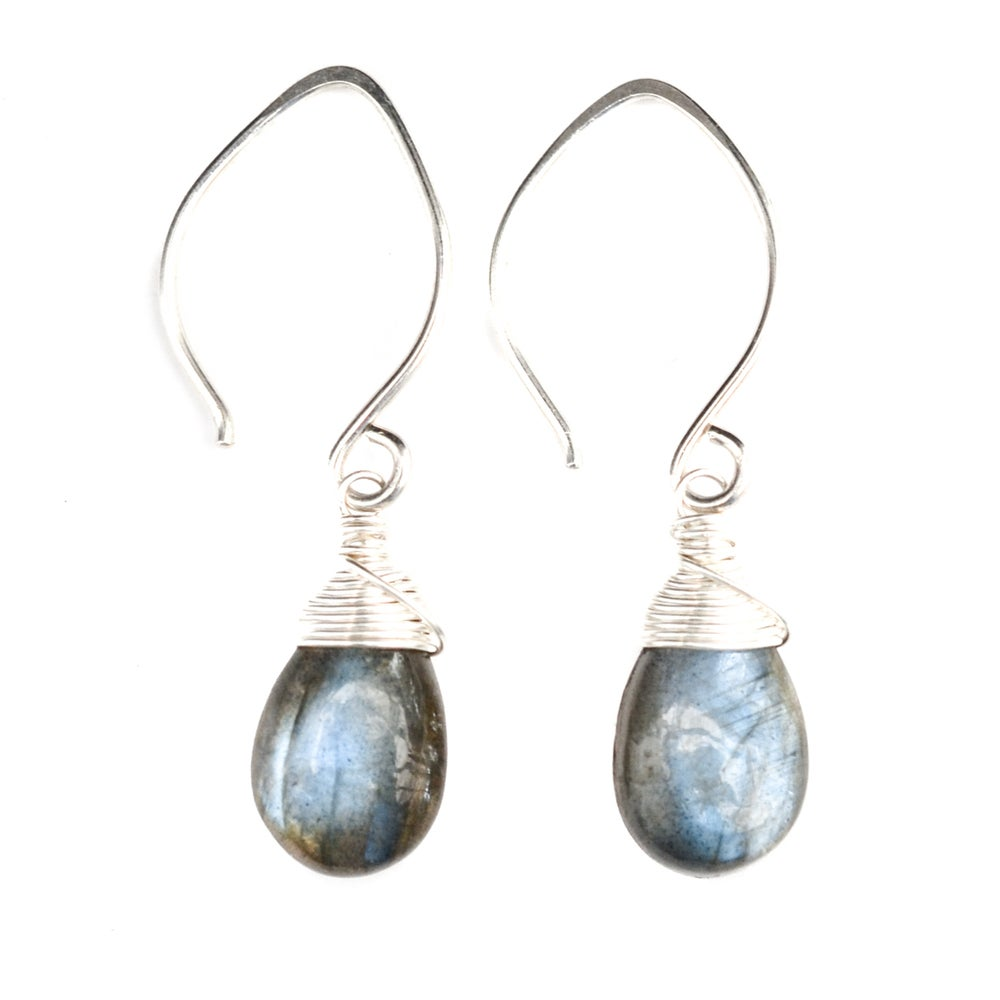 Image of Labradorite Earrings Lotus Ear Wire