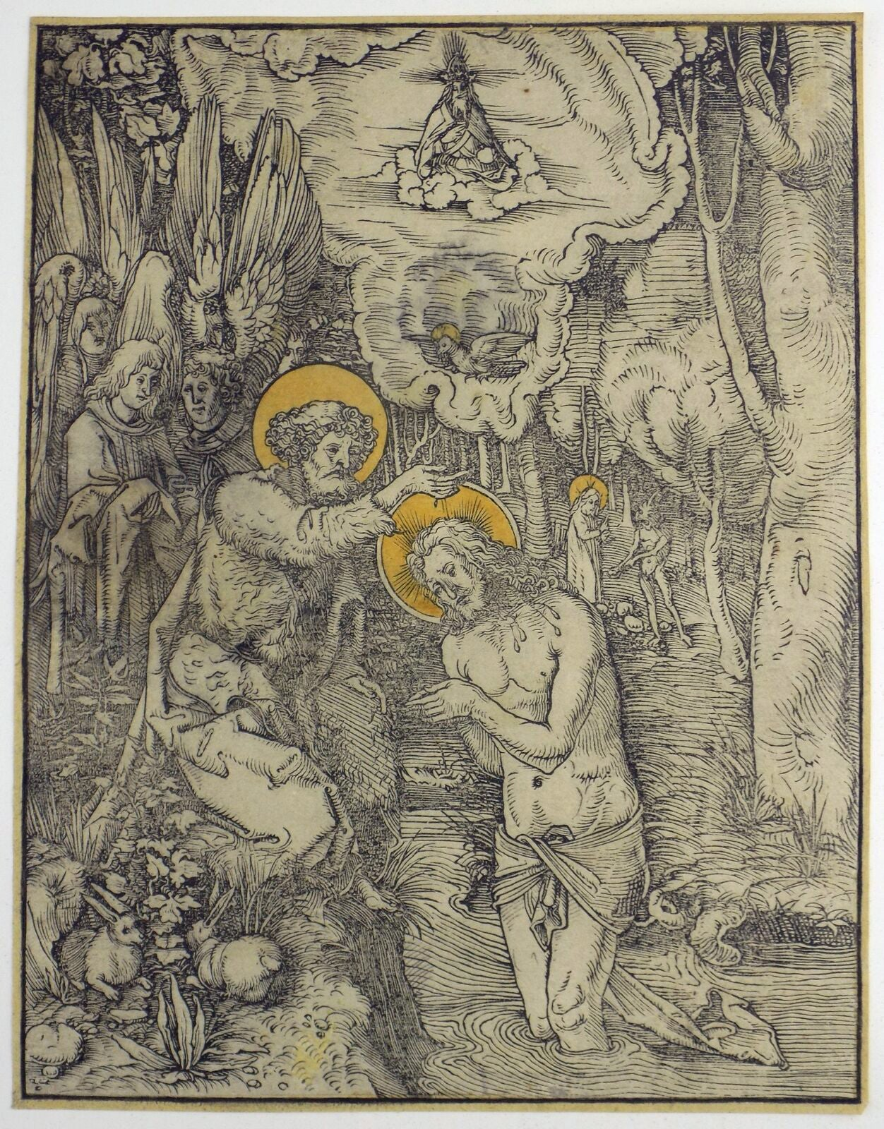 Image of German Old Master Print of the Baptism of Christ by Hans Wechtlin