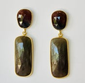 Image of Sapphires: burgundy top taupe drop