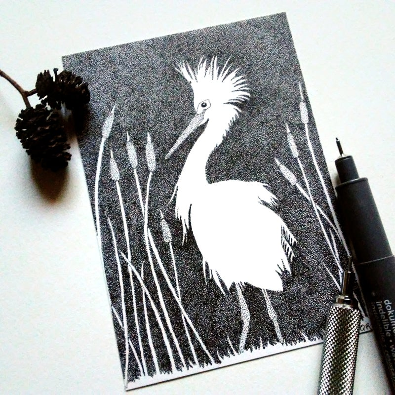 Image of Egret and Cattails