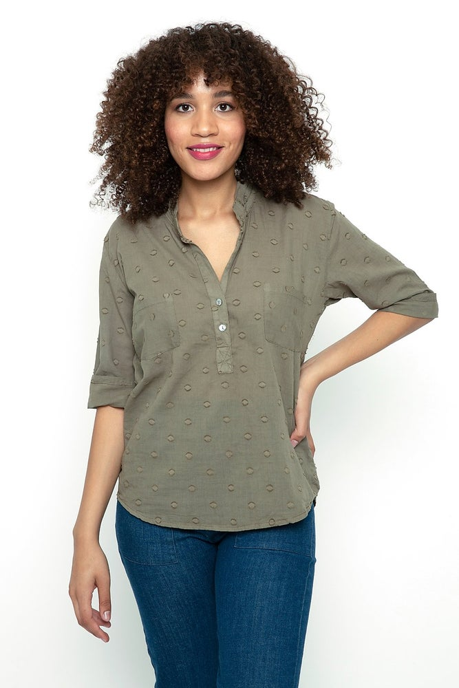 Image of Cameo Tunic Blouse (Army Dot)