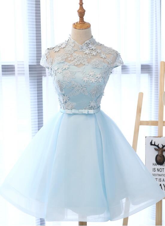Light Blue Cute Short Simple Party Dress, Light Blue Teen Formal Dress