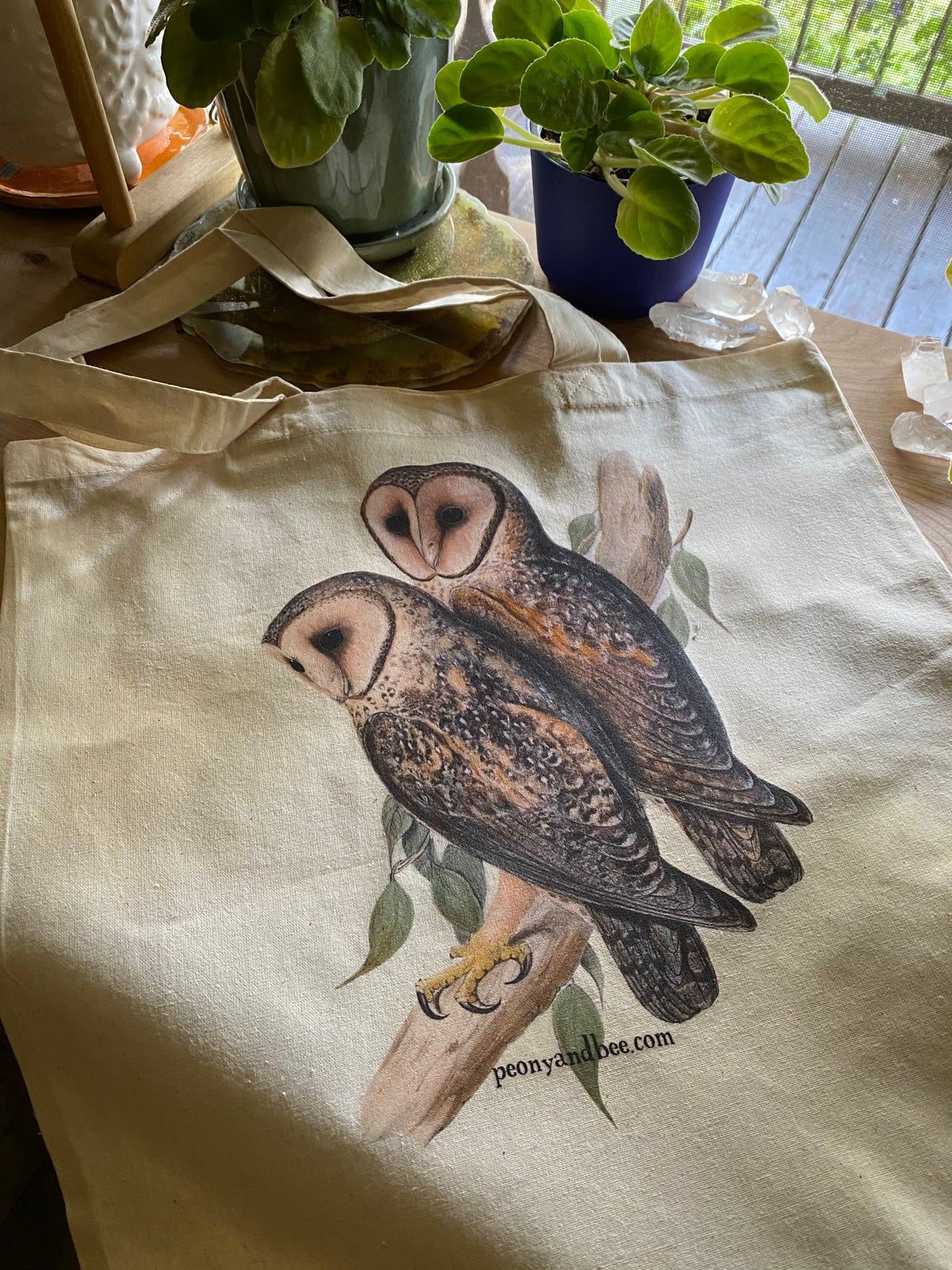 Image of Lightweight Canvas Tote - Owls