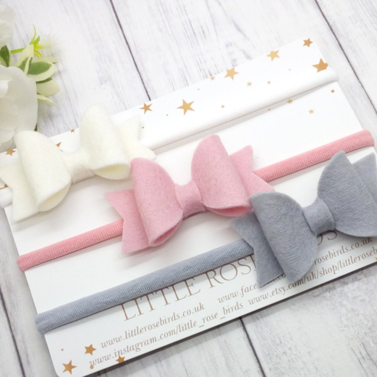 Image of SET OF 3 White/Ascot/Turtle Bows on Headbands or Clips