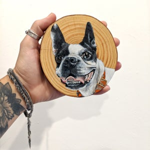Custom Pet Portrait - 5x5 Tree Slice Option