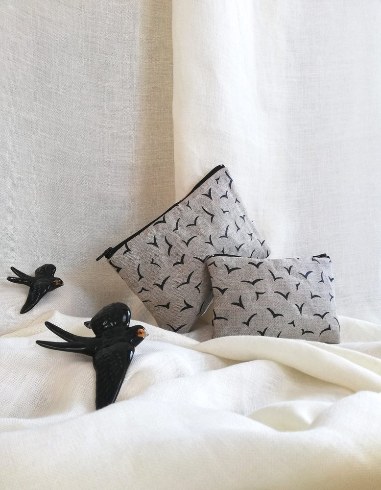 Image of Bolsas con cremallera - swallows- lino natural