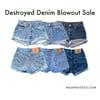 Mixed Destroyed Denim Shorts