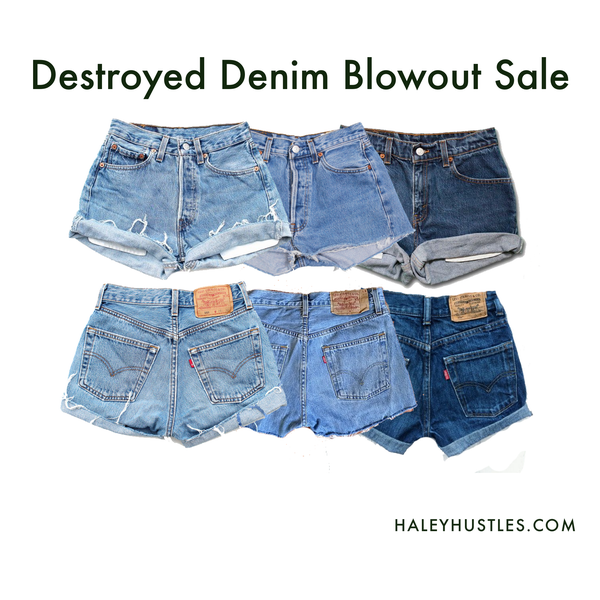 Image of Mixed Destroyed Denim Shorts