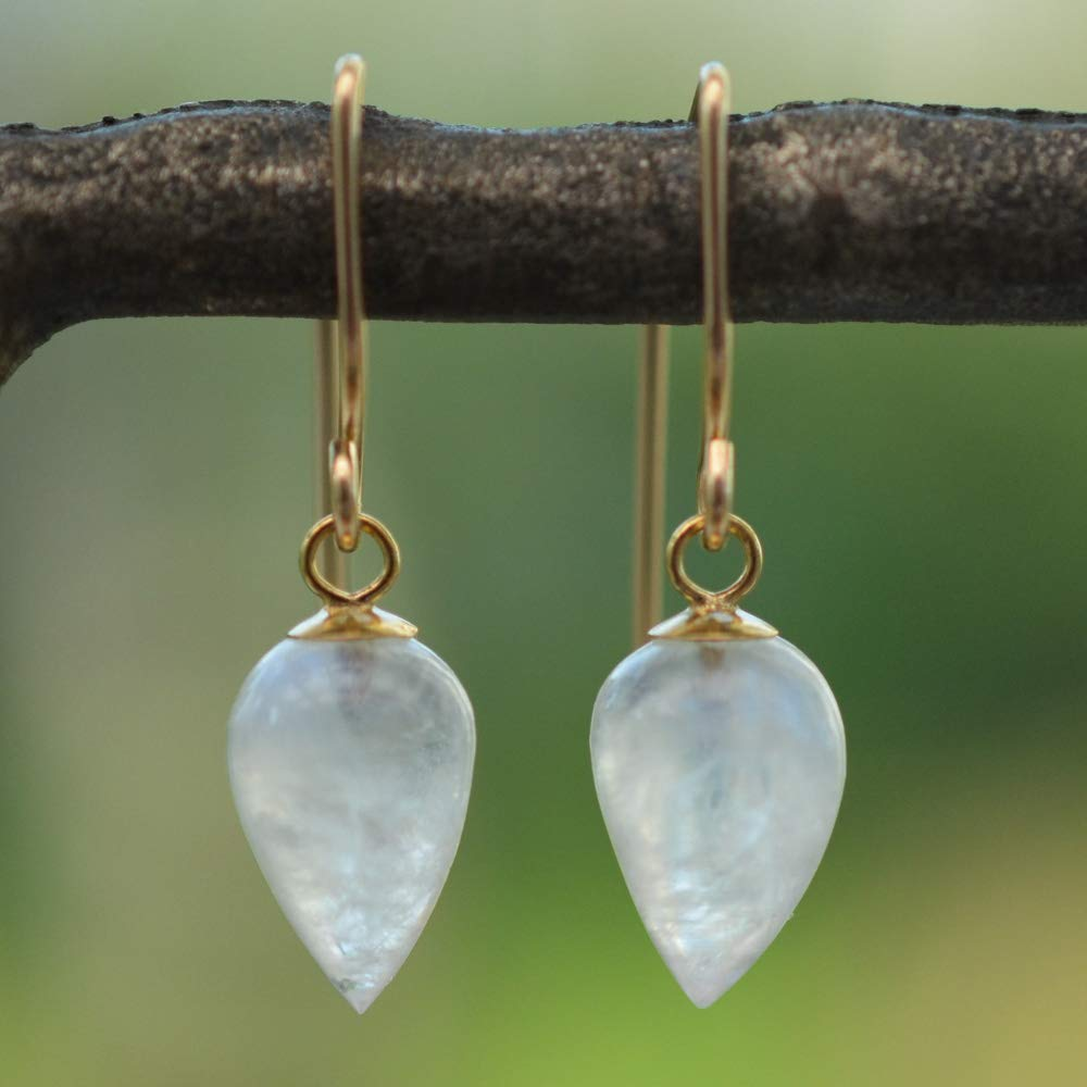 Image of Rainbow Moonstone Acorn Earrings