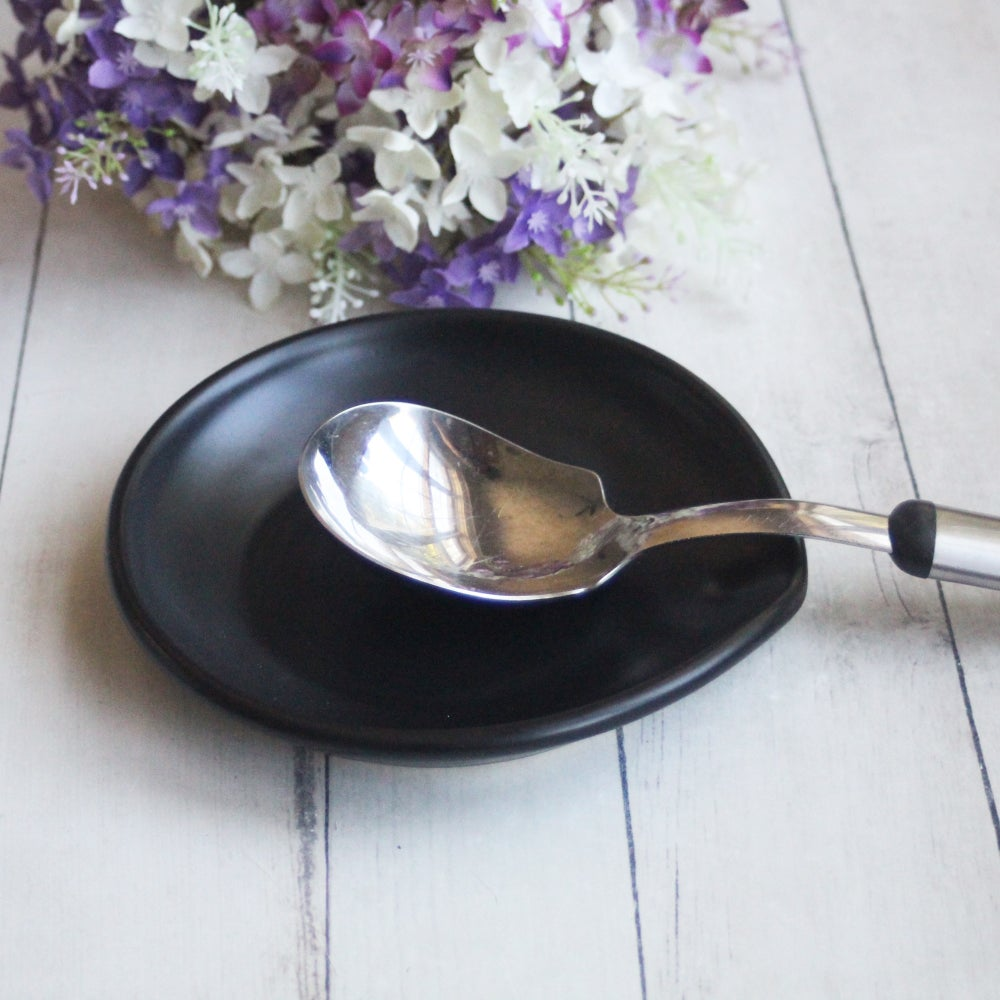 Image of Extra Large Modern Black Spoon Rest, Handmade Pottery Spoon Holder, Made in USA