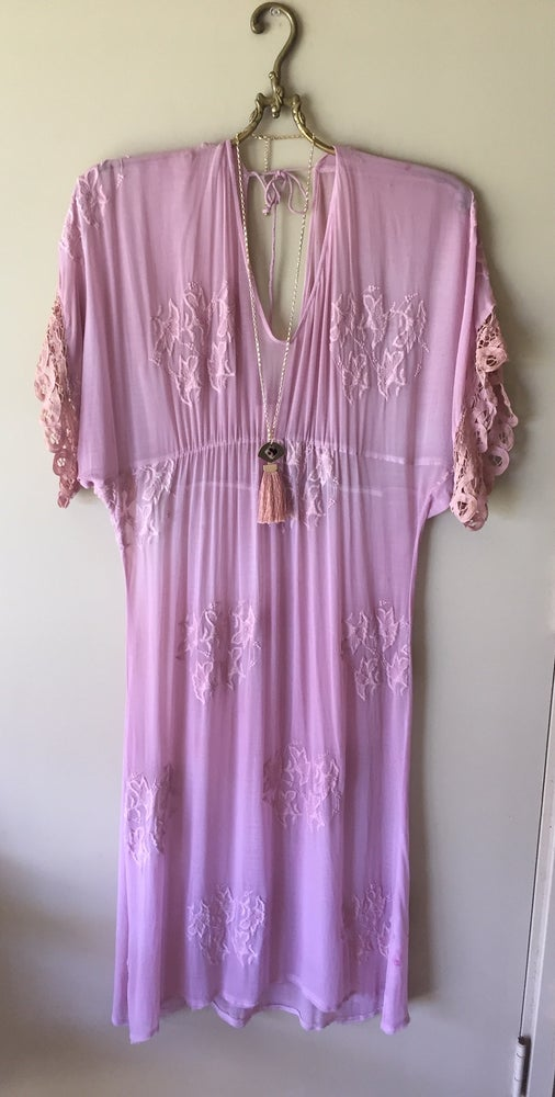 Image of Designer sixty days in Sweden hand dyed embroidery dress in pale dusty rose