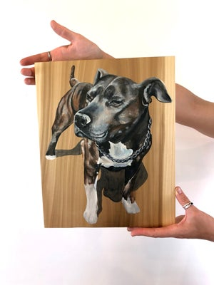 "12""x14"" Custom Pet Portrait on Wood"