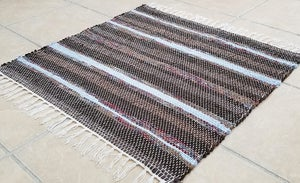 Image of Rag Rug - Browns,  Sky blue / Square shape / Eco-Friendly upcycled fabric