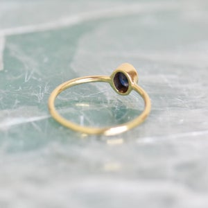 Image of Crystal Blue Sapphire oval cut 14k gold ring