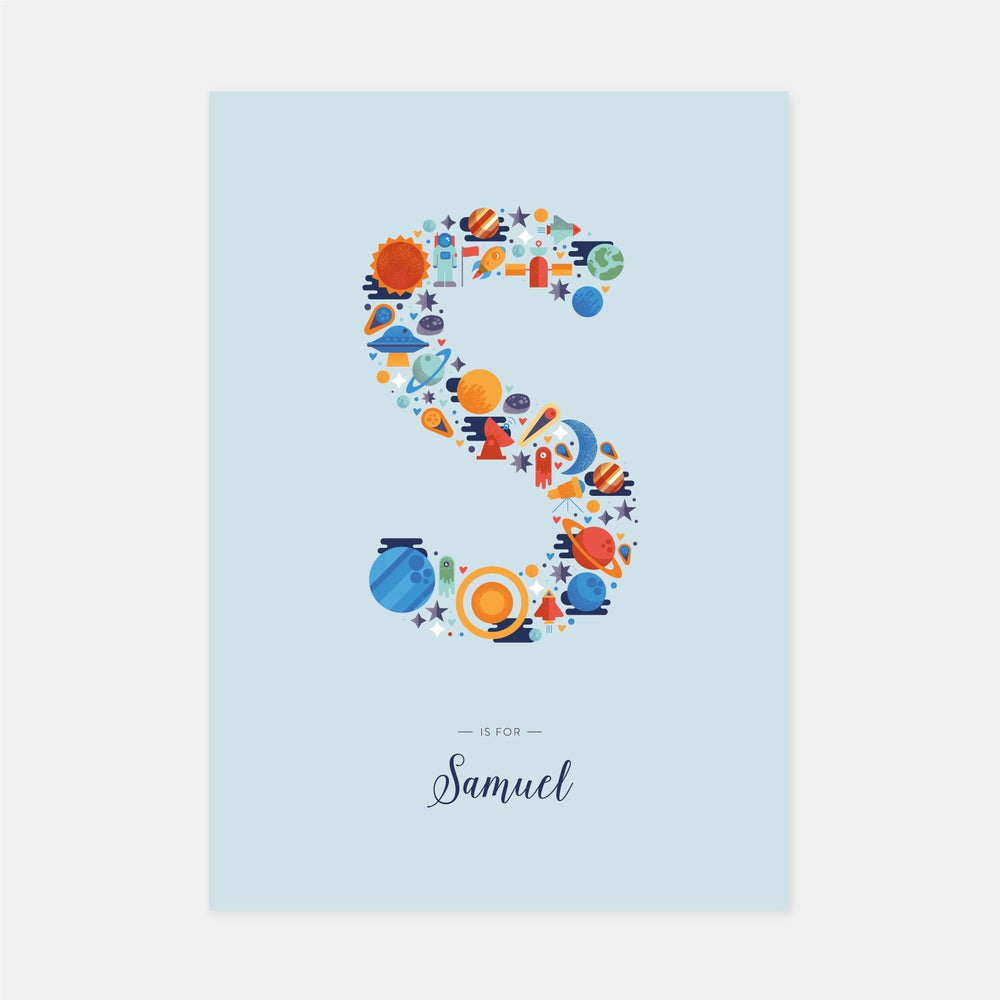 Image of A-Z Personalised Letter Print (Blue)
