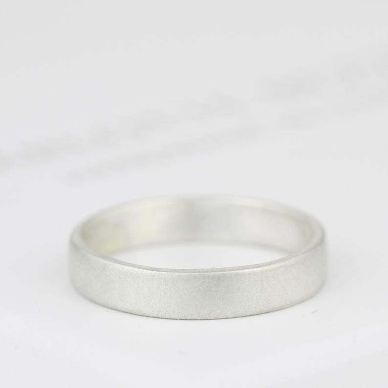 Image of handmade silver ring 4mm wide (brushed finish)