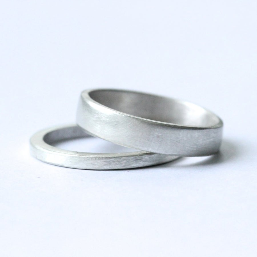 Image of Pair of handmade silver rings 4mm & 1.5mm