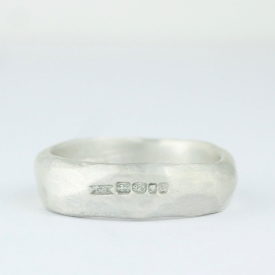 Image of mans / larger sizes organic ring in silver