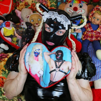 Image of MISS MEATFACE AS MAE WEST & MEATMAID HEART PILLOW