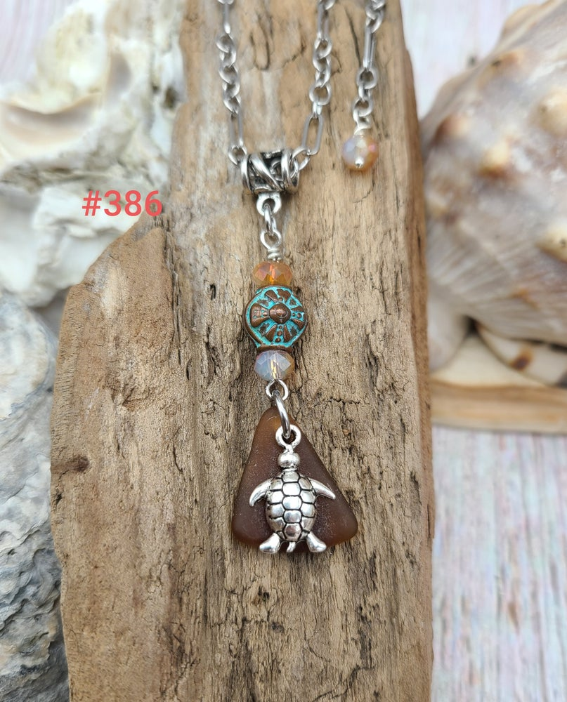 Image of Sea Glass- Turtle- Greek Bead- Necklace- #386
