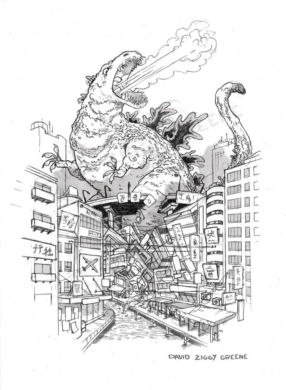 Godzilla - Gojira print