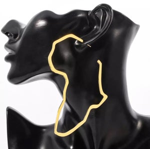 Image of Africa Map Extra Large Gold & Silver Earrings