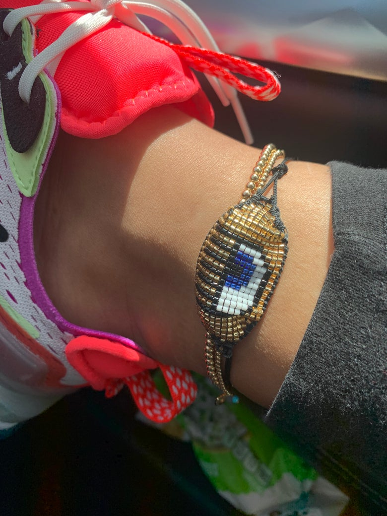 Image of lashed Hamsa beaded anklet
