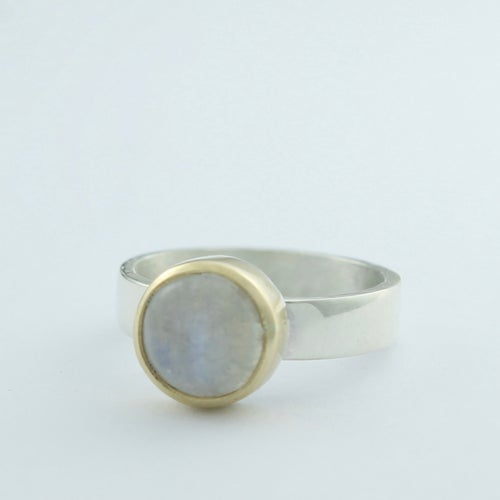 Image of medium moonstone ring with gold setting