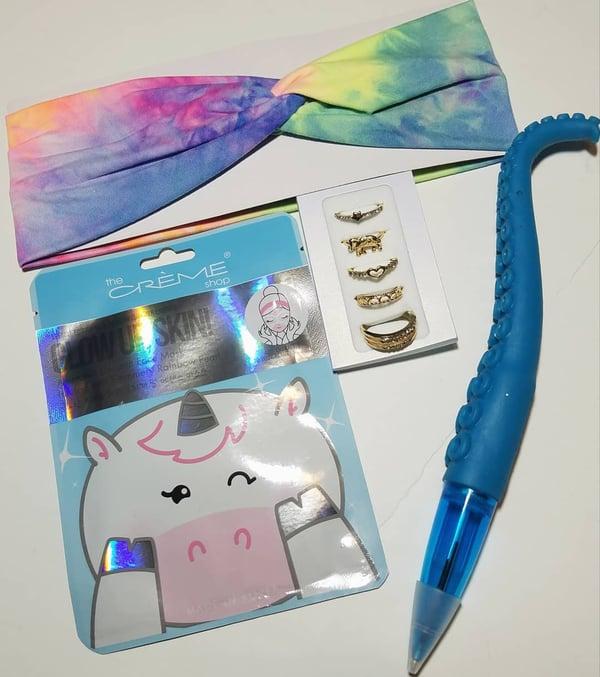 Image of Rainbow Tie-Die Headband & Unicorn Mask Bundle