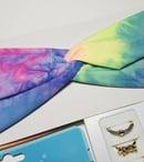 Image 3 of Rainbow Tie-Die Headband & Unicorn Mask Bundle