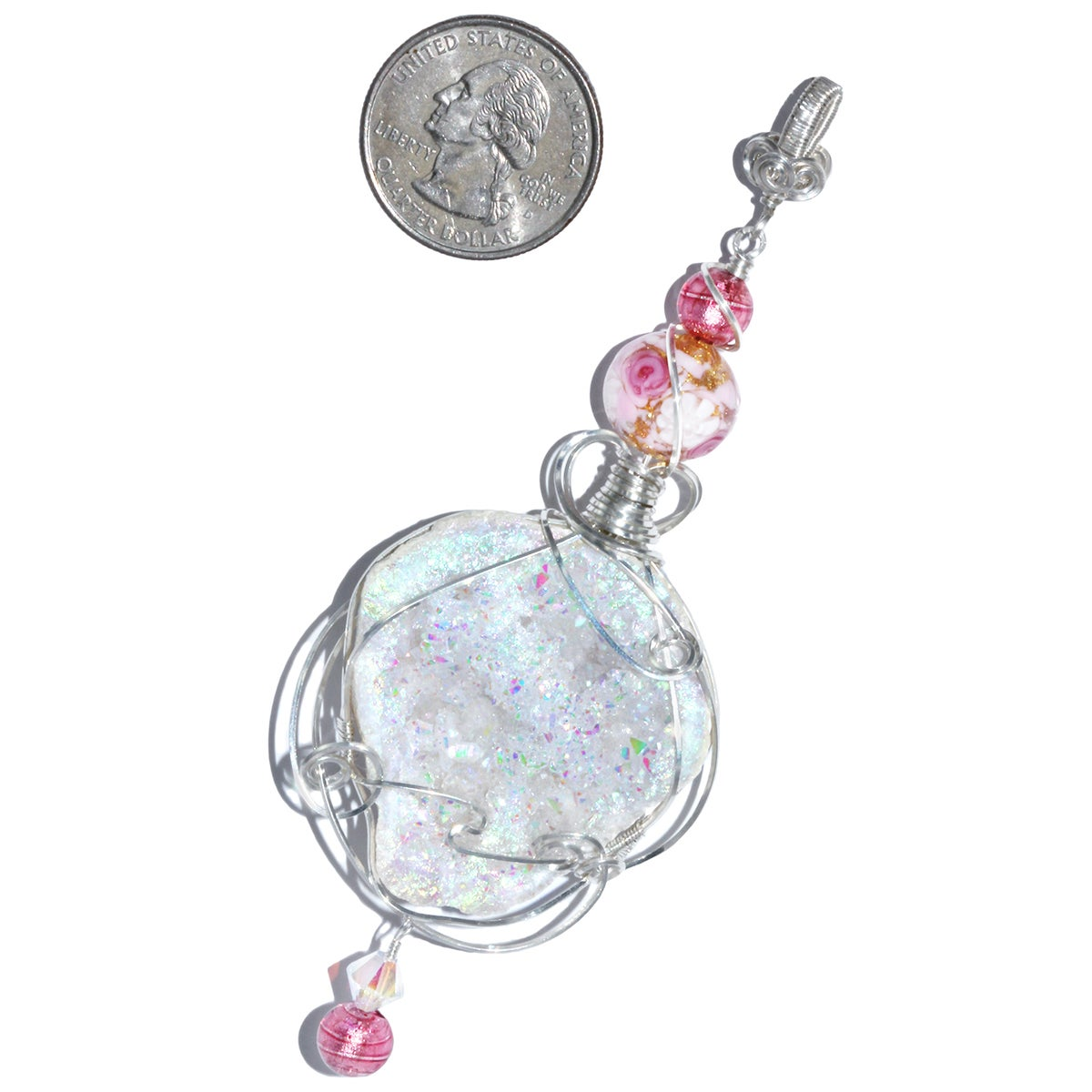 Angel Aura Drusy Geode Pendant with Venetian Glass Beads