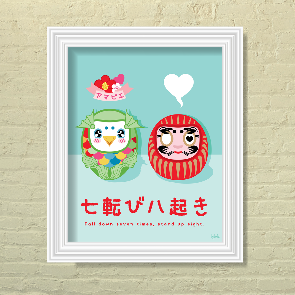 Image of Amabie and Daruma Dolls Print