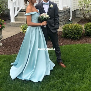 Image of Elegant Mint Satin Off-The-Shoulder A-line Long Evening Gown, Prom Dress With Pockets