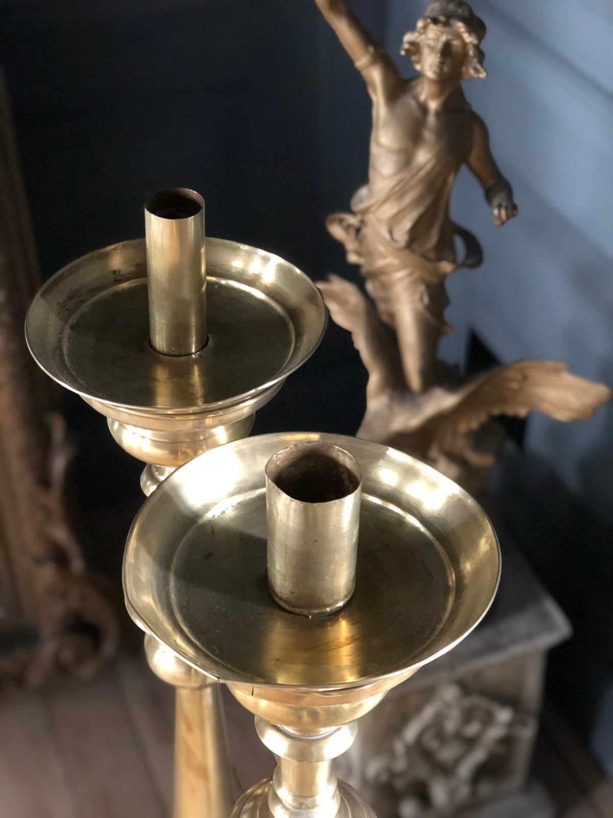 Image of Pair of huge french brass candlesticks