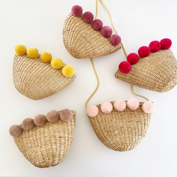 Image of Summer Pom Straw Purses