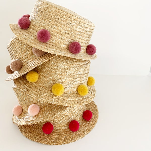 Image of Summer Pom Straw Hats
