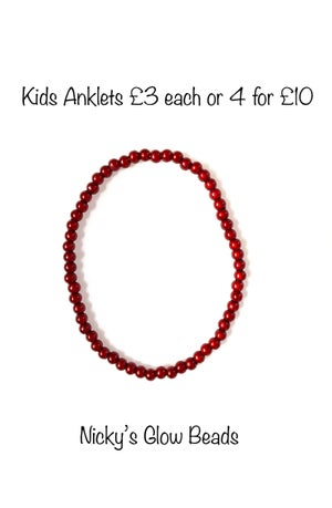Image of 4mm Glow Bead Anklet - KIDS