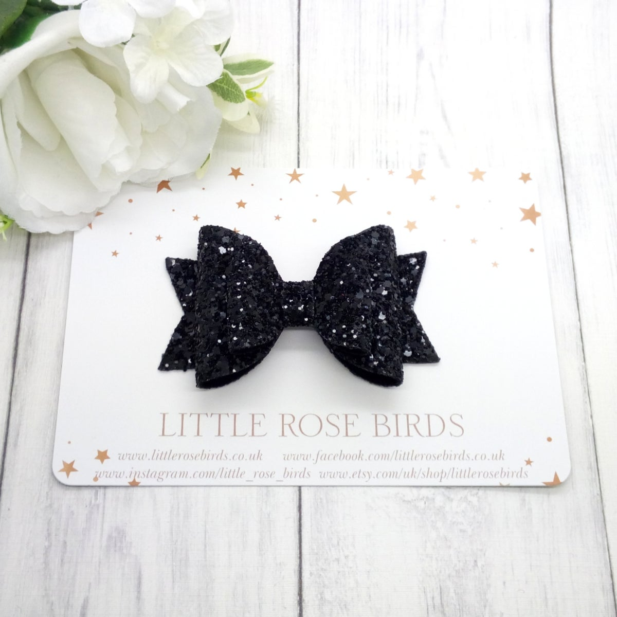 Image of Black Glitter Bow - Choice of Size