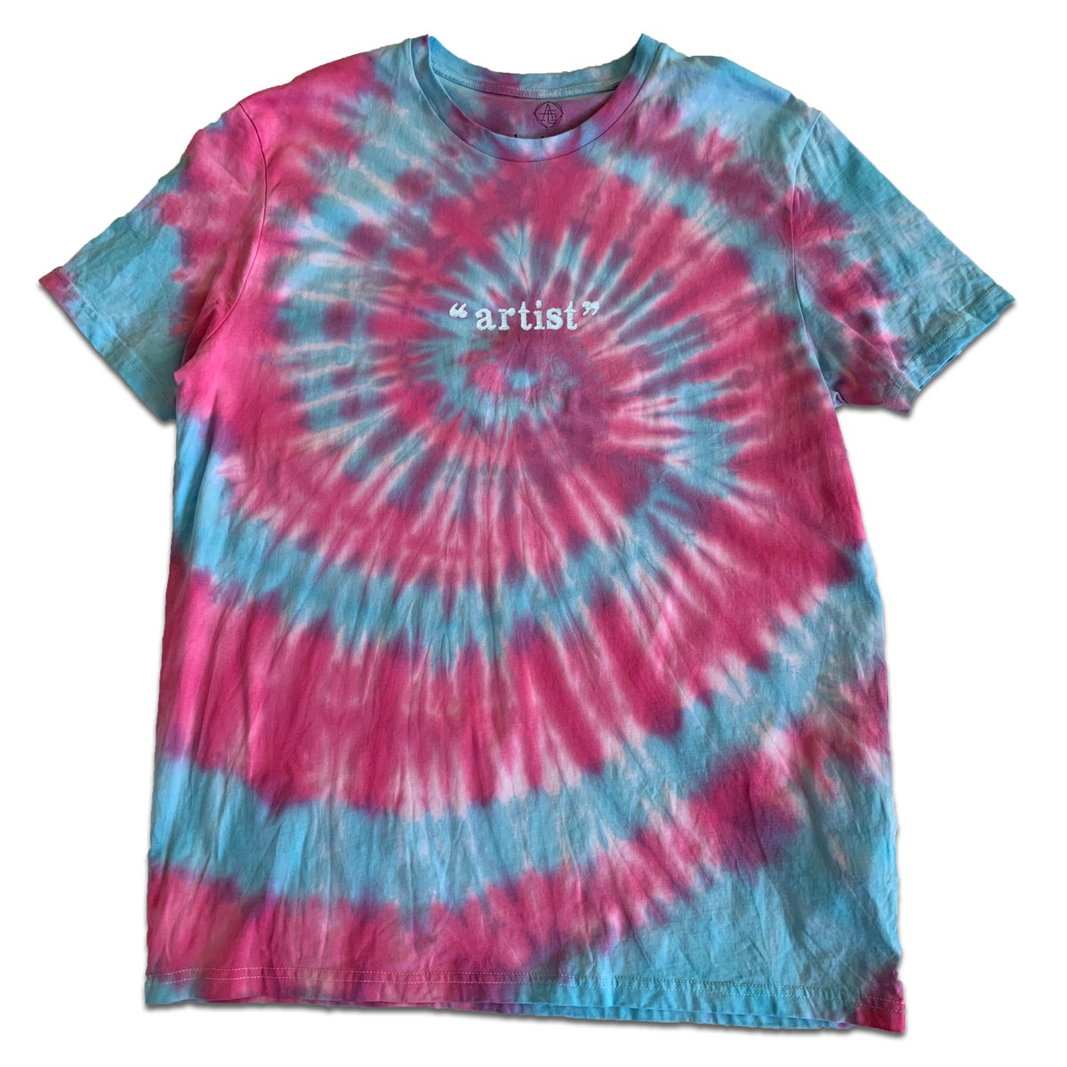 """Image of TIE DIYE """"ARTIST"""" TEE - GLOW IN THE DARK LIGHT BLUE and PINK - Friends & Family"""