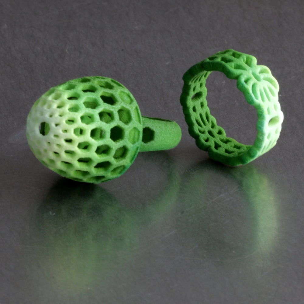 Image of 3D printed ring FLORAL green