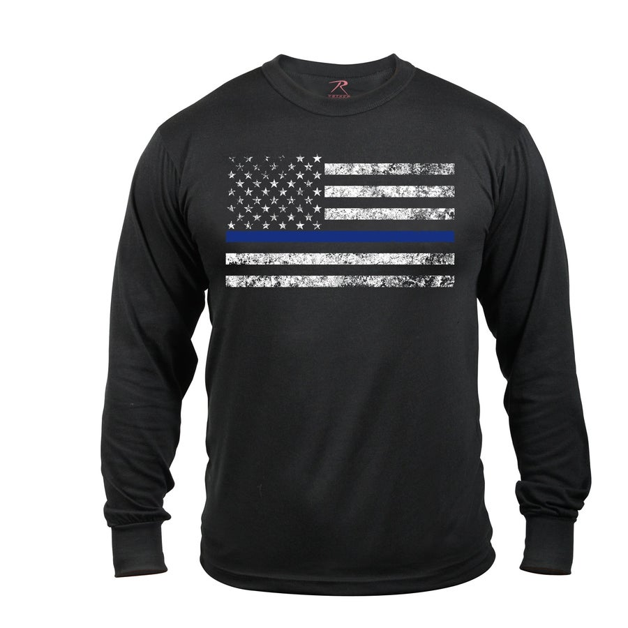 Image of Long Sleeve Thin Blue Line T-Shirt