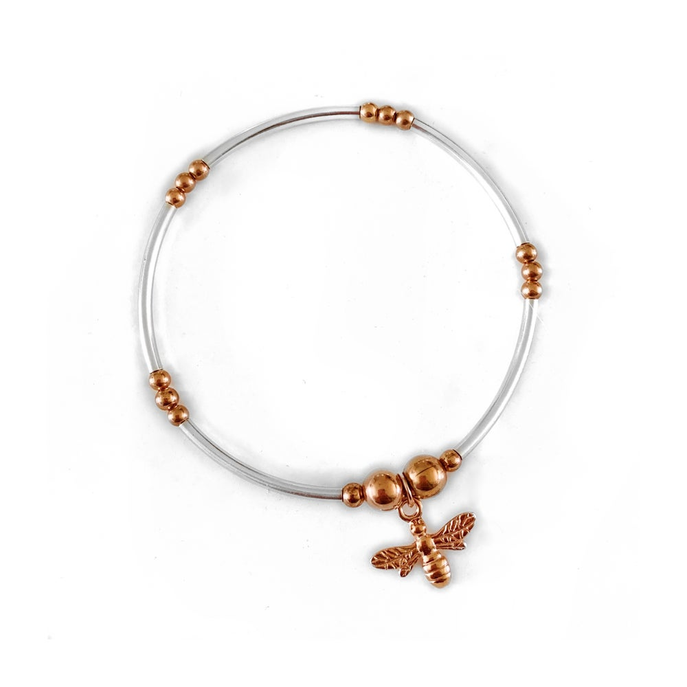 Image of Sterling Silver & Rose Gold Bee Charm Bracelet