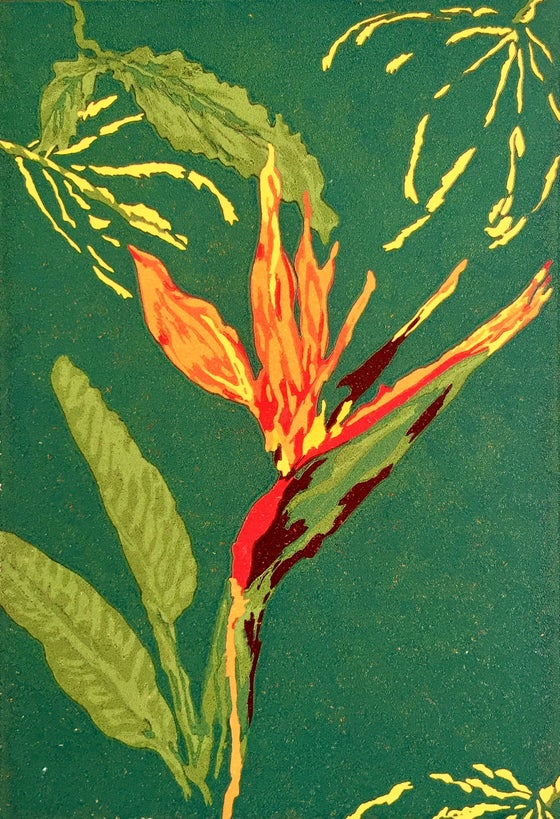 Image of Bird of Paradise Reduction Linocut